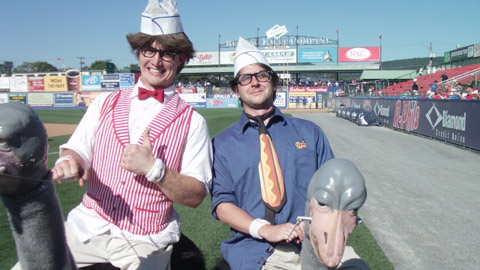 Ben Hill joins the Crazy Hot Dog Vendor in his wacky charades.